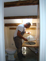 Miro gets the hole ready for the sink, Kovaci, Istria