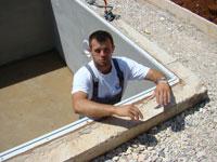 Toni in unfinished pool, Kovaci, Istria
