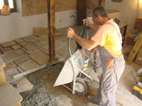 Miro laying the flagstones in the house at Kovaci, Istria
