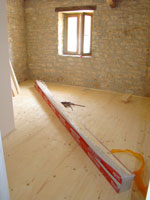 Newly laid wood floor upstairs in the barn, Kovaci, Istria