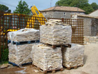 Piles of packaged paving stone at Kovaci, Istria