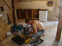 Siggy working on the barn kitchen in Kovaci, Istria