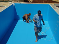 Pool liner being fitted in Kovaci, Istria