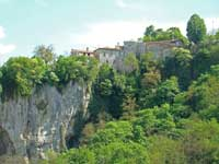 Houses on edge of Pazin gorge, Istria