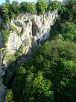 Limestone cliff in Pazin gorge, Istria
