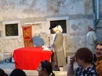 trial scene in Iustitia, Porec, Istria