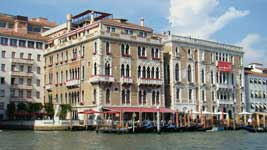 Grand palaces along the Grand Canal in Venice