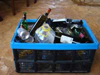 Box with some of my bottles for recycling in Istria