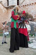 Musicians on stilts at Mare the Witch, Istria