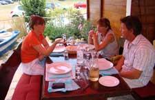 Nicky, Snjezana & Srdjan waiting for dinner at Srdela, Vrsar, Istria