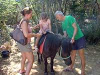 Emily takes a pony ride, Dinopark, Istria