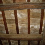 Inside of roof showing beams and lining tiles