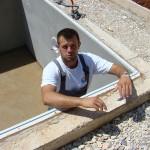 Toni in unfinished pool in Kovaci, Istria
