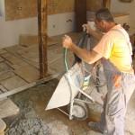 Miro starts laying flagstones at Kovaci, Istria