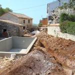 trenches for water near the pool in Kovaci, Istria